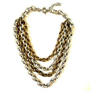 HEAVY Mixed Metal gold silver necklace multi